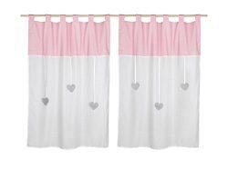 NURSERY & KIDS ROOM CURTAIN-Pink & white dots-decorative high quality tab top curtain ki ...