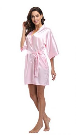 Luvrobes Women's Satin Kimono Robe, Solid Color, Short (S, Light Pink)