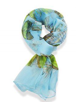 Womens 100% Silk Butterfly Pattern Scarf (Light Blue)