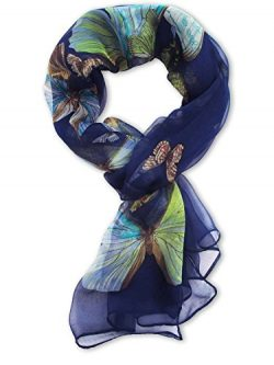 V28® Womens 100% Silk Butterfly Pattern Scarf (Dark Blue)