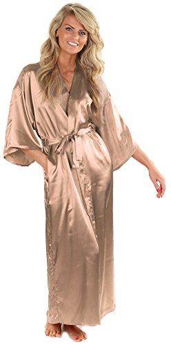 VEAMI Women's Kimono Robe-Champagne Metallic-Large, Long