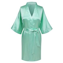 Goodmansam Women's Simplicity Stlye Bridesmaid Wedding Party Kimono Robes, Short