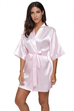 The Bund womens Pure Colour Short Kimono Robes with Oblique V-Neck Lightpink Medium