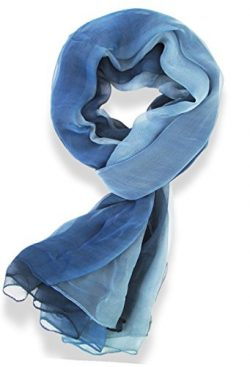 V28® Womens Multi Radient Colors 100% Pure Silk Scarf (41 x 69 inches, Blue)