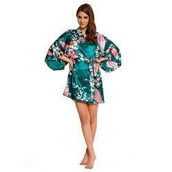 Women's Peacock Kimono Robe SR-13 With A Free Gift (Extra $10 Value) (X-Small, Teal)