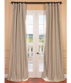 Half Price Drapes PTCH-BO130907-96 Blackout Faux Silk Taffeta Curtain, Antique Beige