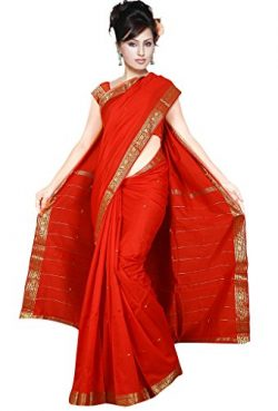 Indian Women's Traditional Art Silk Saree Sari Drape Top Veil fabric Red