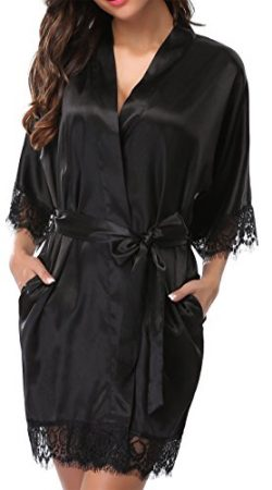 Giova Women's Lace Trim Kimono Robe Nightwear Nightgown Sleepwear Satin Short Robe