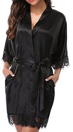 Giova Women's Lace Trim Kimono Robe Nightwear Nightgown Sleepwear Satin Short Robe, Black, ...