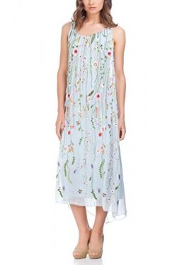 Laura Moretti – Silk long dress with coloured embroidered floral details