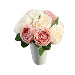 KESEE☀☀Artificial Rose Silk Pink Flowers 5 Flower Head Leaf DIY Home Table Garden Wedding Decor  ...