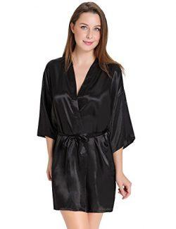 Aibrou Women/'s Kimono Robes Satin Pure Colour Short style with Oblique V-Neck, Black, Large