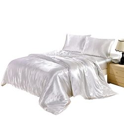Hotel Quality Solid White Duvet Cover Set King Size Silk Like Satin Bedding with Hidden Zipper T ...