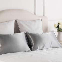 Luxury Silk Satin Pillowcase Skin and Hair Beauty Sateen Pillowcases Set of 2 King Size(20″ ...