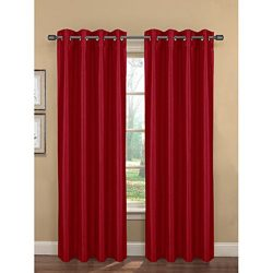 Maria's Collection 2- Piece 55 by 84-Inch Faux Silk Extra Wide Grommet Panel Window Curtai ...
