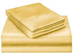 ELAINE KAREN Soft Silky Satin Queen Bed Sheet Set, Gold