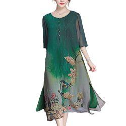 Honwenle Women's Vintage Round Neck Half Sleeve Side Slit Floral Hollow Out Silk Dress Green