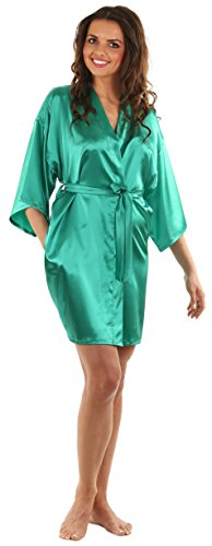 VEAMI Women's Kimono Robe-Emerald-Small, Short