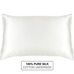 MYK SILK – Natural Silk Pillowcase with Cotton Underside for Hair and Facial, 19 Momme Ivo ...