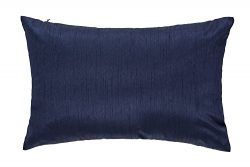 12 X 18 Inches Faux Silk Decorative Lumbar Throw Pillow Cushion, Complete Pillow with Zipper Pil ...