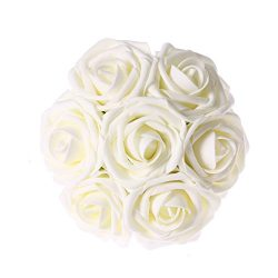 Ling's moment Artificial Flower Rose, 50pcs Ivory Real Looking Fake Roses w/Stem for DIY W ...
