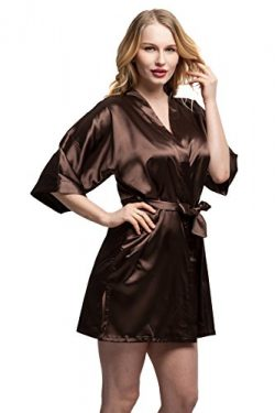 ExpressBuyNow Women's Kimono Robe Short ,pure color-Brown ,XX-Large
