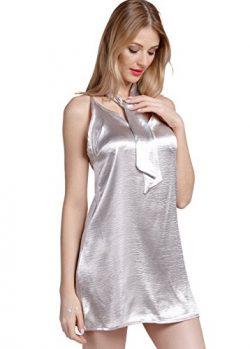 Wink Gal Women's Slash Neck Cami Slip Dress SLIVER M