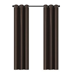 Home Queen Luxury Dupioni Faux Silk Thermal Insulated Grommet Top Blackout Curtain Drapes, 37&#8 ...