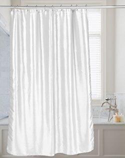 "Carnation FSC15-FS/21 ""Shimmer"" Faux Silk Shower Curtain, White"