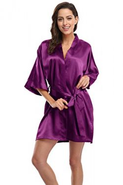 KimonoDeals Women's Soft Elegant Solid Color Kimono Robe-Aubergine, Short M