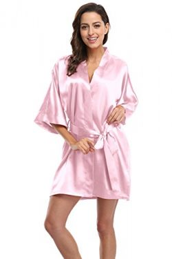 KimonoDeals Women's Soft Elegant Solid Color Kimono Robe-Light Pink, Short M
