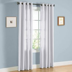 United Linens Samantha-Panel-Wh Set of 2 Window Curtain Faux Silk, 38″ x 84″, White