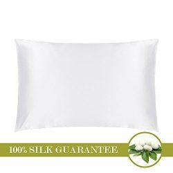 MOMMESILK Mulberry Silk Pillowcase with Hidden Zipper White Standard 20 X 26- Inches