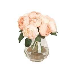 Doinshop Artificial Peony Silk Flower Leaf Home Wedding Party Décor 1 Bouquet 6 Heads (Pink)