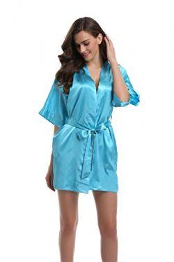 Sunnyhu Women's Pure Color Kimono Robe, Short (S, Cyan)