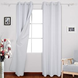 Deconovo Blackout Panels Luxury Faux Dupioni Silk Blackout Curtains Thermal Insulated Top Gromme ...