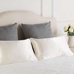 Luxury Silk Satin Pillowcase Skin and Hair Beauty Sateen Pillowcases Set of 2 Standard Size(20&# ...