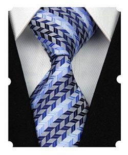 MENDENG New Men's Dark Blue Light Blue Striped Silk Tie Business Wedding Necktie