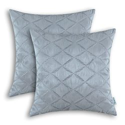 Pack of 2 CaliTime Pillow Shells Cushion Covers Faux Silk Diamonds Chain Geometric Embroidered 1 ...