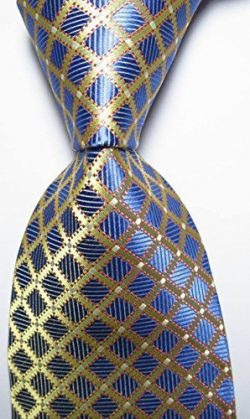 EXT Collectino 100% Silk Necktie, New Classic Checks Blue Gold Tie JACQUARD WOVEN Men's Su ...