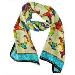 Wrapables Vibrant 100% Silk Long Scarf 51″ x 10.5″, Hummingbirds