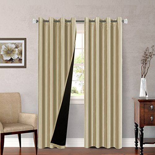 H Versailtex Antique Beige Full Blackout Lined Curtains Faux Silk With Black Liner Backing 2
