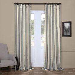 Half Price Drapes PTS-SLK183-120 Faux Silk Taffeta Stripe Curtain, 50 X 120, Hampton