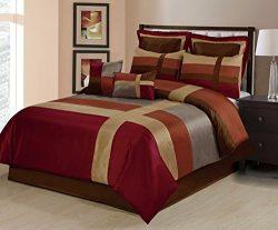 8 Piece Dorsey Multicolor Patchwork Comforter Set (Queen, Burgundy)