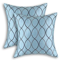 Pack of 2 CaliTime Pillow Shells Cushion Covers Faux Silk Waves Embroidered Light Blue Color 18& ...