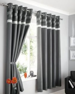 CHARCOAL GREY FAUX SILK LINED CURTAINS WITH EYELET RING TOP 46 x 54″ OPULENCE