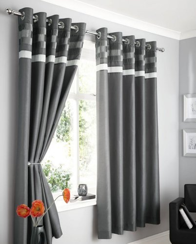 Charcoal Grey Faux Silk Lined Curtains With Eyelet Ring