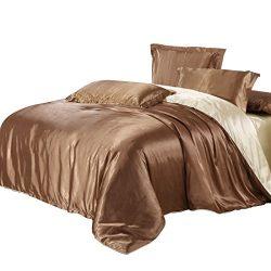 uxcell Brown Golden Satin Silk Like Solid Color Bedding Set Duvet Cover Silk Pillowcase Silk She ...