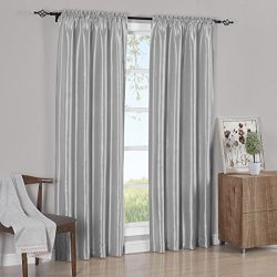 Set of 2 Panels 84″Wx96″L – Solid Silver- Soho Faux Silk Curtain Panels , 42-I ...