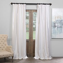 Half Price Drapes PDCH-KBS2BO-96 Blackout Vintage Textured Faux Dupioni Curtain, Off White, 50 X 96